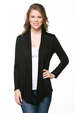 Women Long Sleeve Draped Open Cardigan /  MADE IN USA