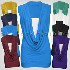 LADIES GATHERED COWL NECK JERSEY STYLE LAYER TOP SLEEVELESS LONG VEST TOP 8 - 20