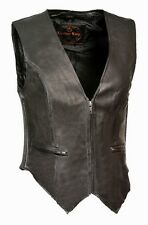WOMEN'S MOTORCYCLE RIDER LEATHER CLASSIC ZIPPER FRONT VEST SOFT LEATHER BLACK