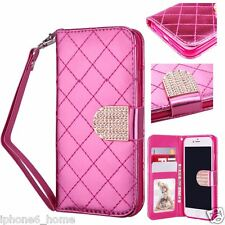 Hot Pink Clutch Wristlet Leather Flip Case Wallet Cover For Apple iPhone 6 & 6s