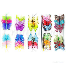 12 Set Assorted Butterfly Decorations Glitter Feather Butterflies Wedding Crafts
