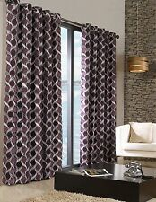 STYLISH TRENDY RINGTOP EYELET LINED  PATTERN CURTAINS AUBERGINE PURPLE COLOUR