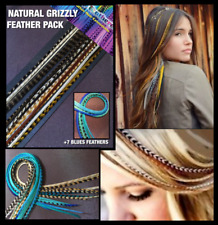Feather Hair Extensions Natural Grizzly & BLUES Feathers Beads Tool CraftKit Pck
