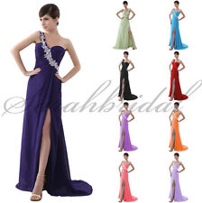 Long Side Slit Prom Evening Gown Plus Size Wedding Party Bridesmaid Dresses 2015