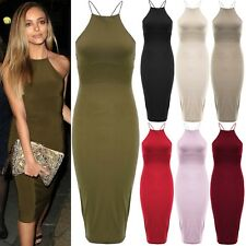New High Neck Strappy Cross Back Slinky Bodycon Midi Celebrity Party Dress