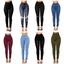 New Sexy Women Light Blue Slim Skinny Jeans Ladies with Lace size 6 8 10 12 14