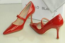 $735 NEW MANOLO BLAHNIK Campari 90 Mary Jane RED Patent SHOES 36.5 40.5