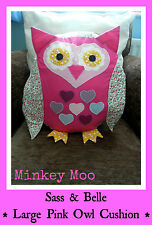 Sass & Belle Shabby Vintage Chic Applique Large Pink Ditsy Owl Cushion & Inner