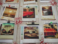 Impression numérique route 66 camping-car par Ashley Wilde coton craft tissu de rideau