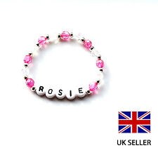 GIRL'S PERSONALISED HOT PINK BRACELET IDEAL FOR GIRLS BIRTHDAY GIFT - ANY NAME