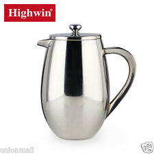 Highwin 34OZ 8 Cups Double Wall Stainless Steel French Coffee Press Fine Fliter