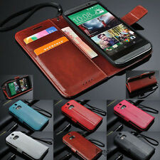 Luxury Leather Card Holder Wallet Flip Cover Stand Case Skin For HTC ONE Phone