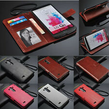 Luxury PU Leather Card Holder Wallet Flip Cover Stand Case For LG Optimus Phone