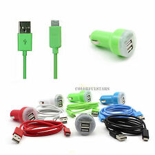 3FT/1M Micro USB Cable+Dual 2 USB Port AC Car Charger for Lumia Optimus Nexus S4