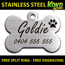Brushed Stainless Steel Bone Pet ID Dog Tag Personalised Laser Engraved 37mm L