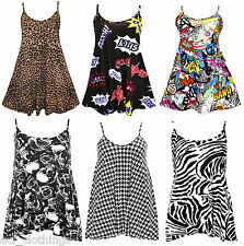 WOMENS LADIES CAMISOLE PRINTED LEOPARD BANG STRAPPY SWING MINI DRESS TOP 8-26