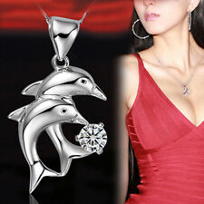Elegant 925 Silver Dolphin's Love Double Dolphins Jump Pendant Necklace Jewelry