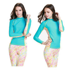 Ladies Rash Guard Women's Long Sleeve Swim Shirt Surf Swimwear SPF Protection