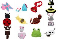 Newborn Baby Hat Knit Bow Diaper Knitted Crochet Costume Photography Prop Set