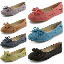 Womens Ladies Flat Casual Bow Ballerina Ballet Pumps Loafers Dolly Shoes Size UK
