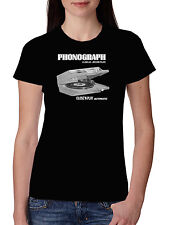 Womens  T Shirt Phonograph Record Player Dj Printed T shirt Old Tetro Turntable