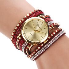 New Brand Quartz Multilayer Leather Band Rivets Bracelet Watch Women Casual