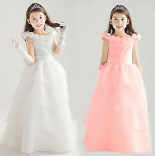 New Girls Kid's Flower Girl Rose Solid Long Full Cake Wedding Party Prom Dress