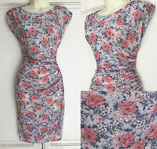 NEW Ex Wallis Peach Blue Grey Floral Print Ruched Dress 8 10 12 14 16 18