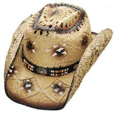 Western Straw Hat Cowboy Cowgirl Rodeo Cattleman Dark Brown Beach Hat - S,M,L,XL