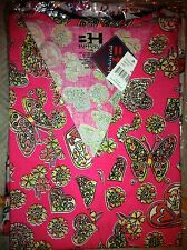 Print Scrub Top Hearts, Butterflies, Flowers On Pink BG by BH 5XL