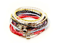 Leather Charm Bracelet 925 Plating 3mm Double Wrap Braided (Fit European Bead)