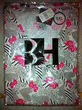 Print Scrub Top Mock Wrap w Ties 2 pocket Lined hearts & Leaves by BH 4XL, 5XL