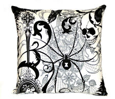 SKULL SPIDER RAVENS THROW PILLOW White - Psychobilly gothic webs home decor