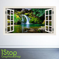 JUNGLE WATERFALL WALL STICKER WINDOW FULL COLOUR - BEDROOM NATURE FORREST X133