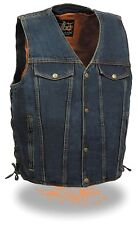 MEN'S MOTORCYCLE MOTORBIKE CLASSIC SNAP FRONT BLUE DENIM BIKER VEST SIDE LACES