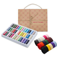 Neotrims 39 Sewing Threads,18 Grosgrain Ribbon Spools & Stitching Tools,Gift Box