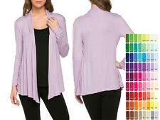 Women's Lightweight Jersey Draped Open-Front Long sleeves Cardigan S/M/L/XL