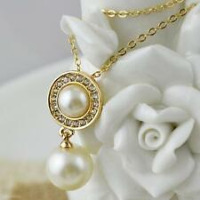 Luxury Women Lady Gift Sweet Double Pearls Diamond Plated Pendant Chain Necklace