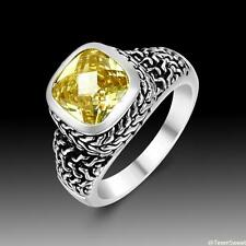 Vintage Classic Style Jewelry Citrine S80 Silver Gemstone Ring size 789