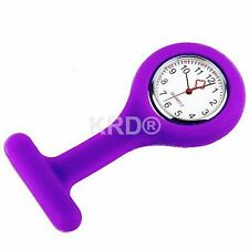 PURPLE Silicone Nurse Fob Watch Brooch Tunic Watch With A Free Battery UK SELLER