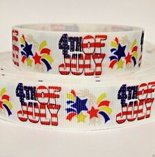 "GROSGRAIN USA 4TH OF JULY FIREWORKS 7/8"" PRINTED RIBBON 1,3,5,10,20 Yds BULK"