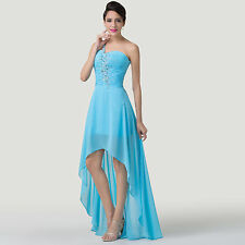 One Shoulder High-Low Cocktail Party Bridesmaid Formal Gown Prom Evening Dress