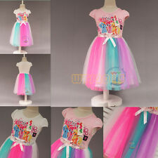 Latest Kids Girl Rainbow Dash Cartoon My Little Pony Tutu Dress Fancy Dress 3-8Y