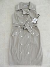 NWT Calvin Klein Double Breasted Khaki/White Piping Sleeveless Belted Dress Sz L