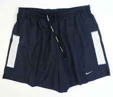 Nike Dri Fit Navy Blue & White Brief Lined Running Shorts Mens NWT