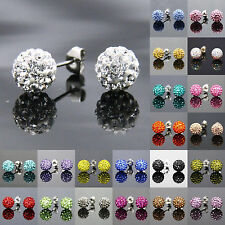 10mm Girls Sparkle Round Crystal Disco Ball CZ Beads Stud Earring