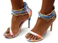 Womens Shoes Strappy High Heels Floral Watercolor Sandals w/Beaded Ankle Straps