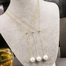 Fashion 14K Rose Gold Stainless Steel White Pearl Pendant womens Chain Necklace