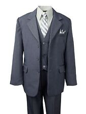 Formal Boys Pinstripe Gray Suit Holiday Toddler Big Boys