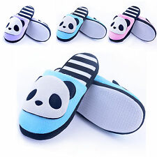 Cute Pink Blue Panda Plush Girl Women Moccasin Warm Indoor Slippers Shoes US 6.5